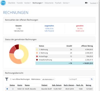 PVSconnect - Rechnungen - Übersicht über Status der Rechnungen