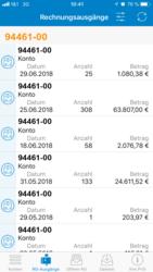 Screenshot der Übersicht zu Rechnungsausgängen in der PVSmobil App