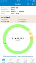 Screenshot der PVSmobil Kontenübersicht auf dem Startscreen